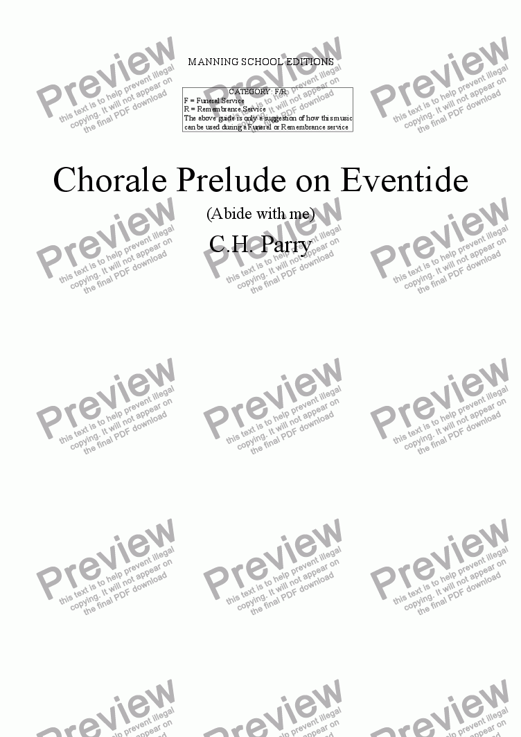 page one of PARRY, C. H. - Chorale Prelude on Eventide (Abide with me) - arr. for String Quartet by Gerald Manning