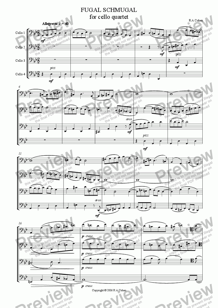 page one of FUGAL SCHMUGAL - fugue for cello quartetASALTTEXT