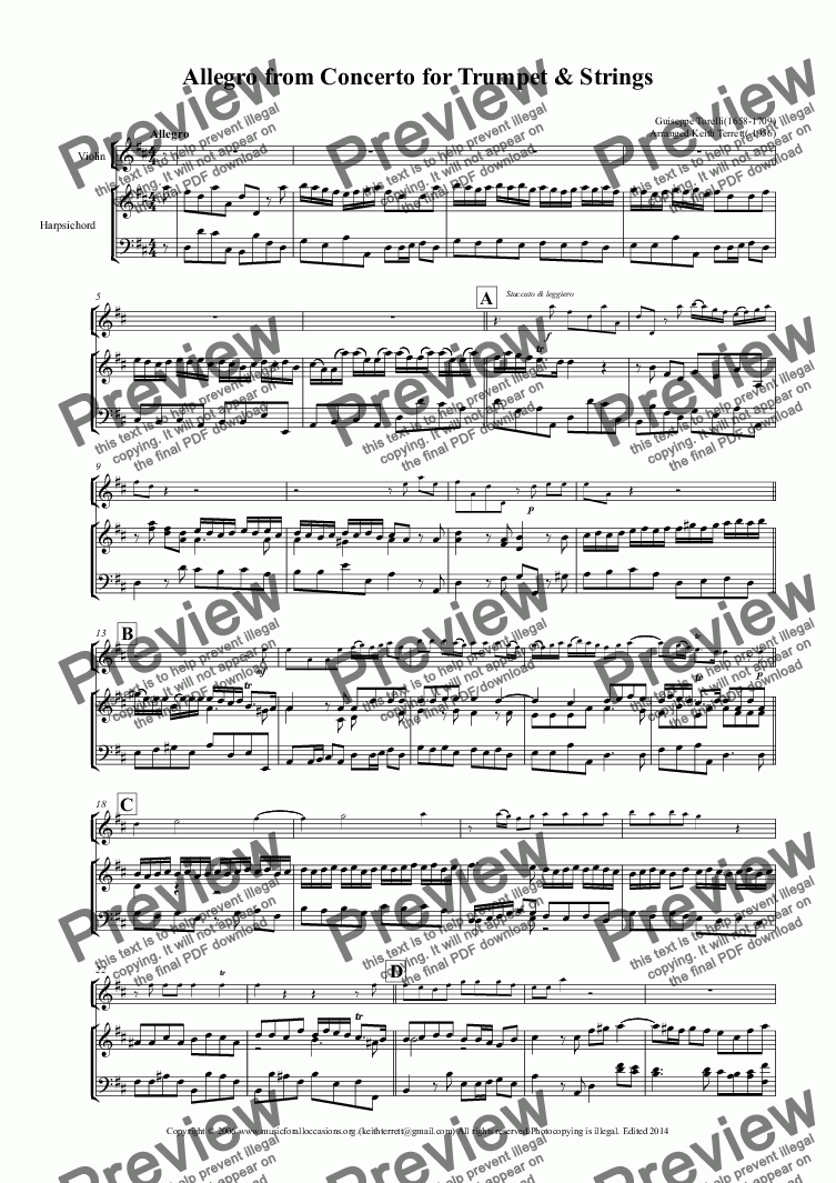 page one of Allegro from the Trumpet Concerto in D arr. for Violin &  Keyboard