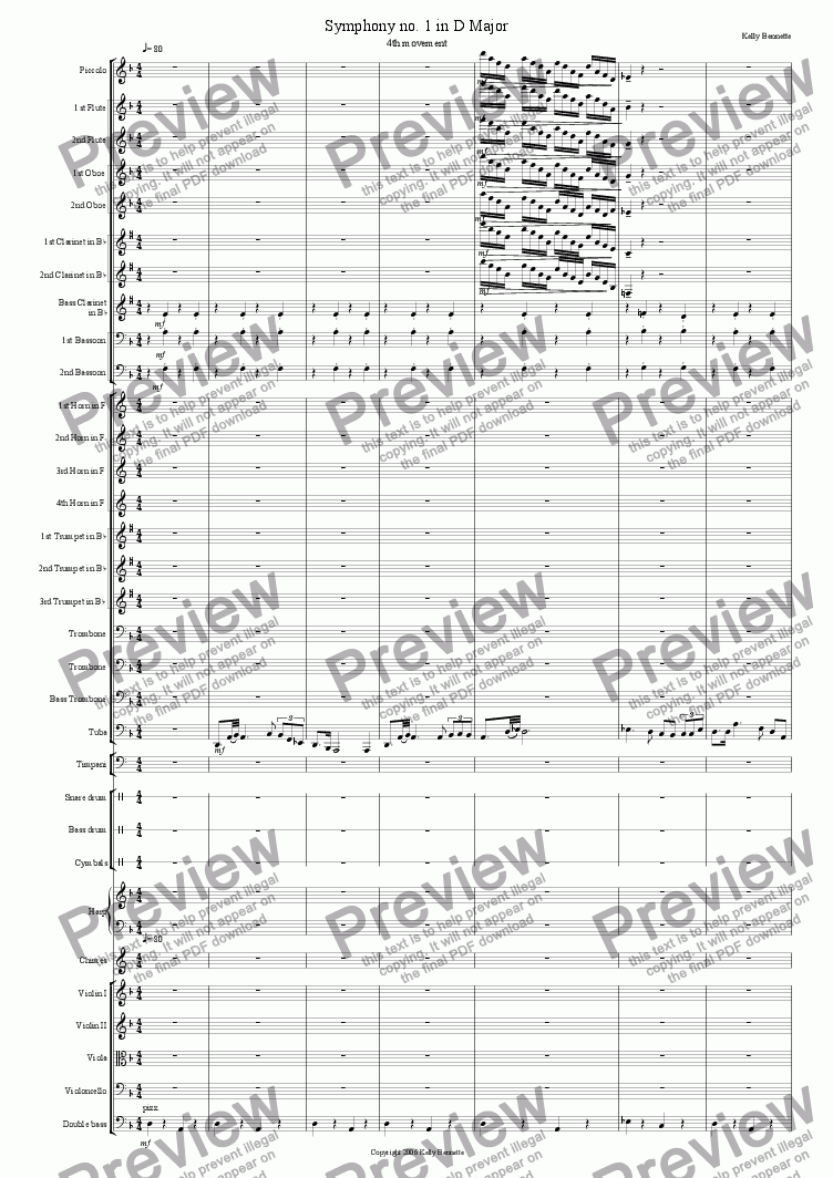 page one of Symphony no. 1 in D Major, 4th Movement