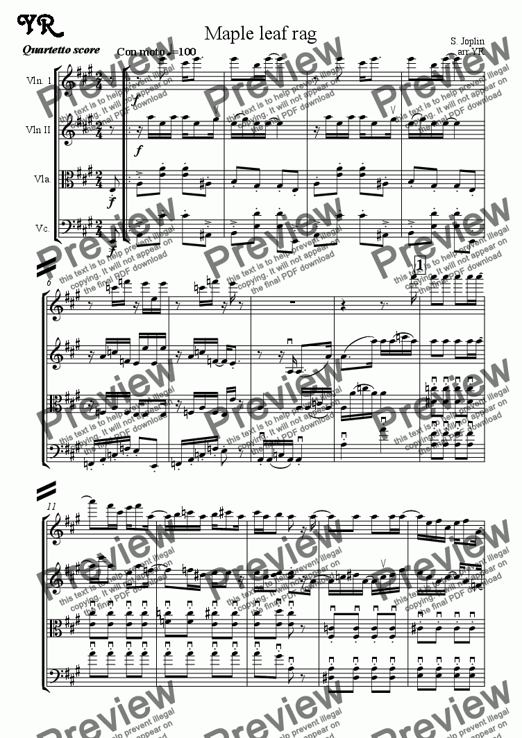 page one of Maple leaf rag