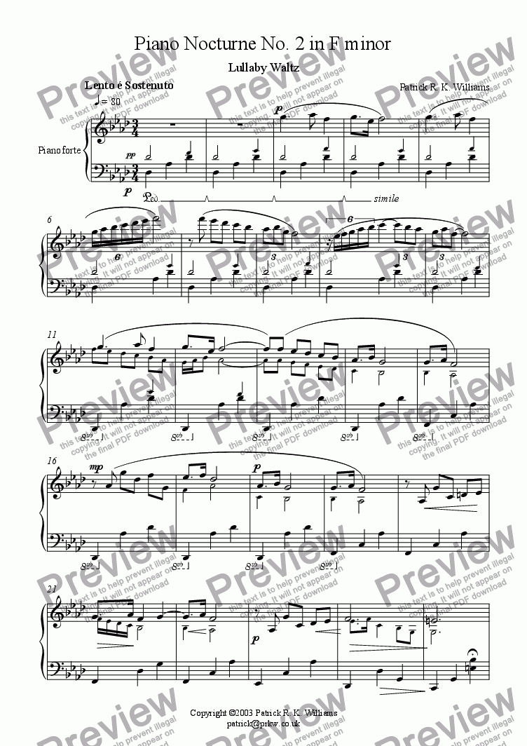 page one of Piano Nocturne No. 2 - Lullaby Waltz