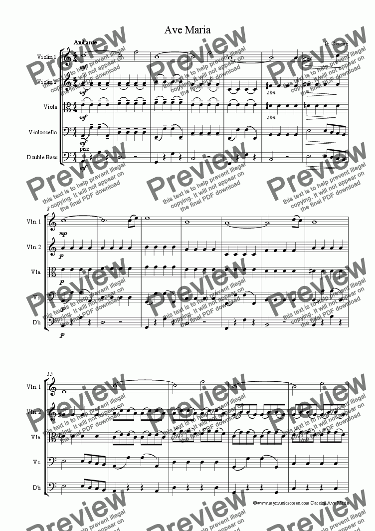 page one of Caccini Ave Maria