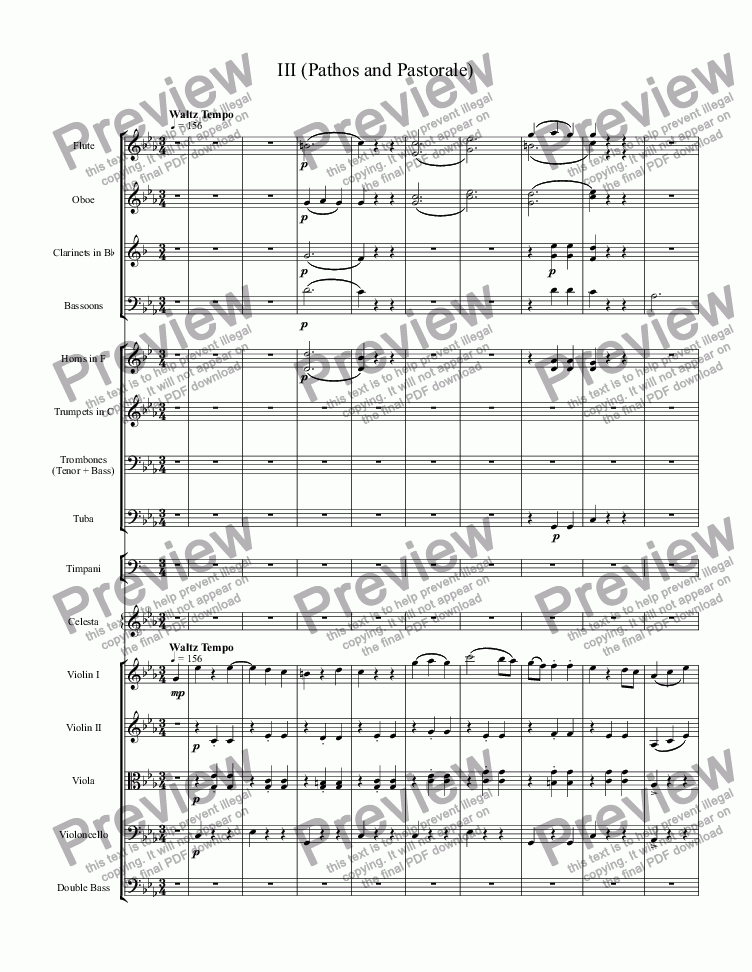 "page one of Symphony in C Minor (III, ""Pathos and Pastorale"")"