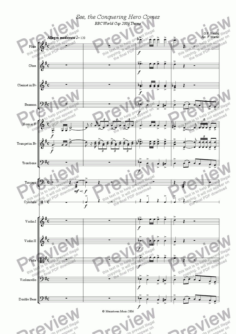 page one of See, the Conquering Hero Comes - Orchestra