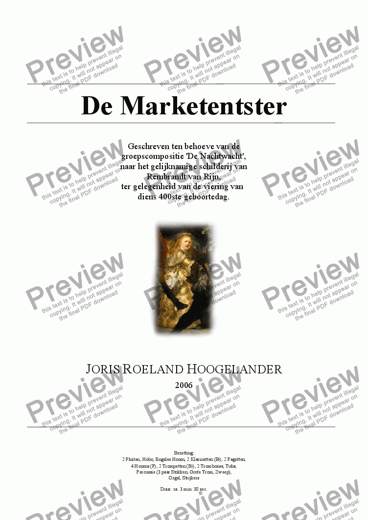 page one of De Marketentster (Rembrandt 2006)