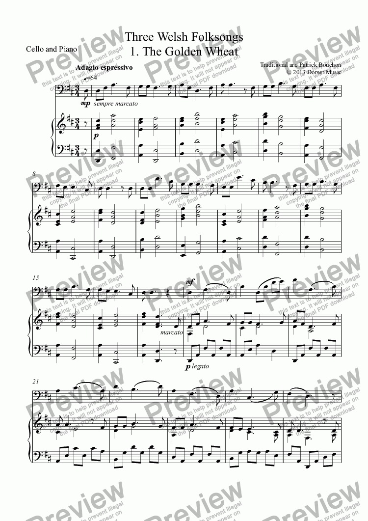 page one of Three Welsh Folksongs for cello and piano 1. The Golden Wheat