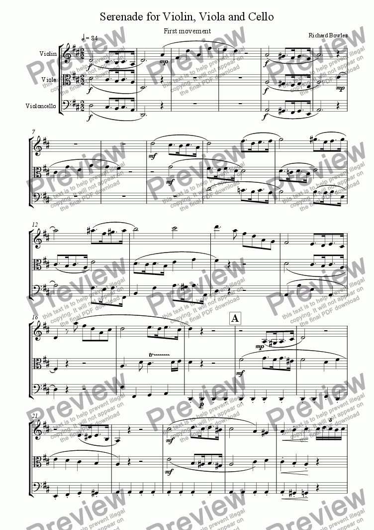 page one of Serenade in D Major for String Trio - First movement