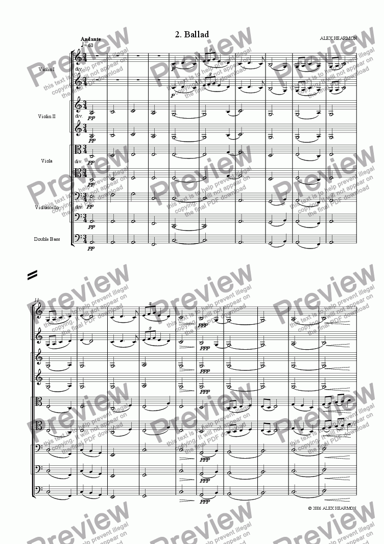 page one of Suite for String Orchestra - 2 (Ballad)