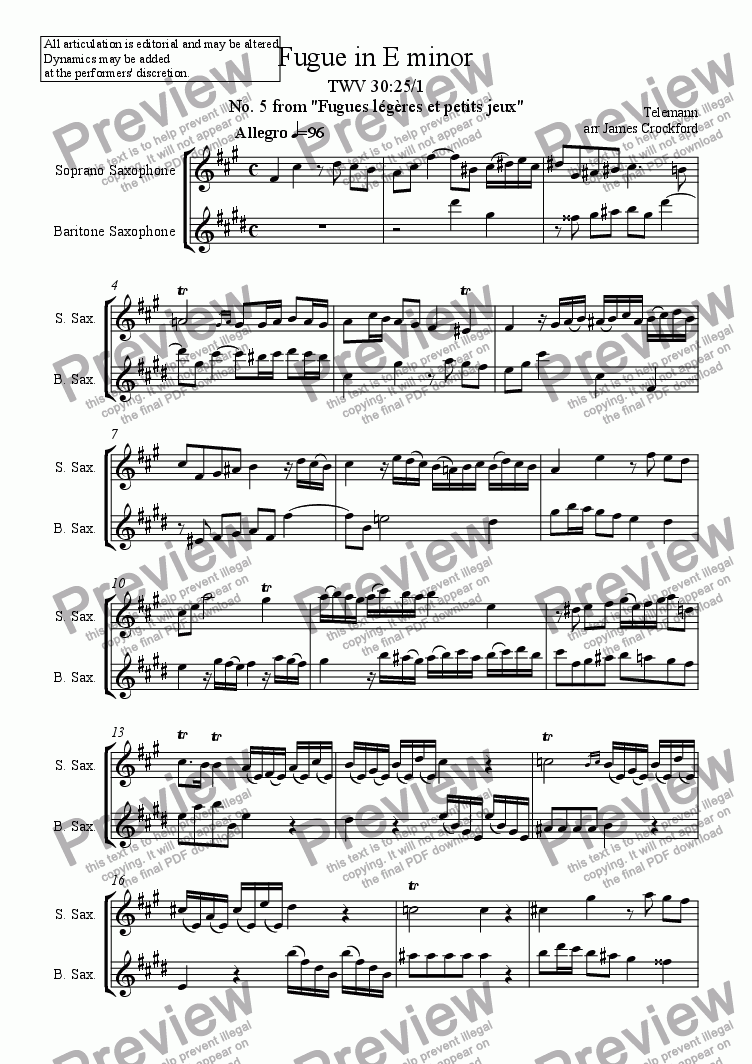 page one of Fugue in E minor for Saxophone Duet (SB/SA/AT/AA)