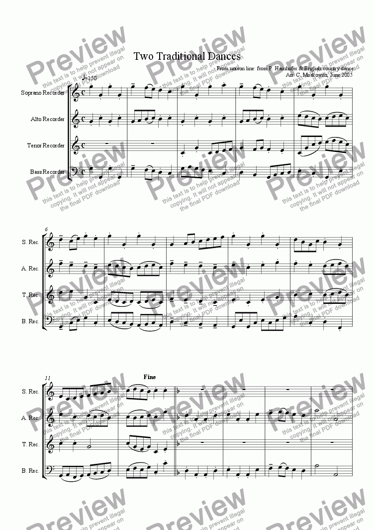 Two Traditional Dances, SATB Recorder Qu  for Quartet of Soprano Recorders  by trad  - Sheet Music PDF file to download