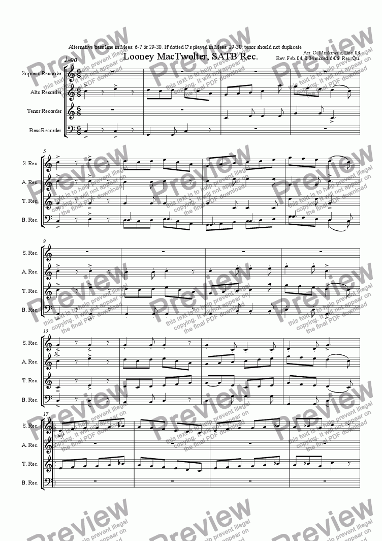 Looney MacTwolter, SATB Rec  for Quartet of Soprano Recorders by trad  -  Sheet Music PDF file to download