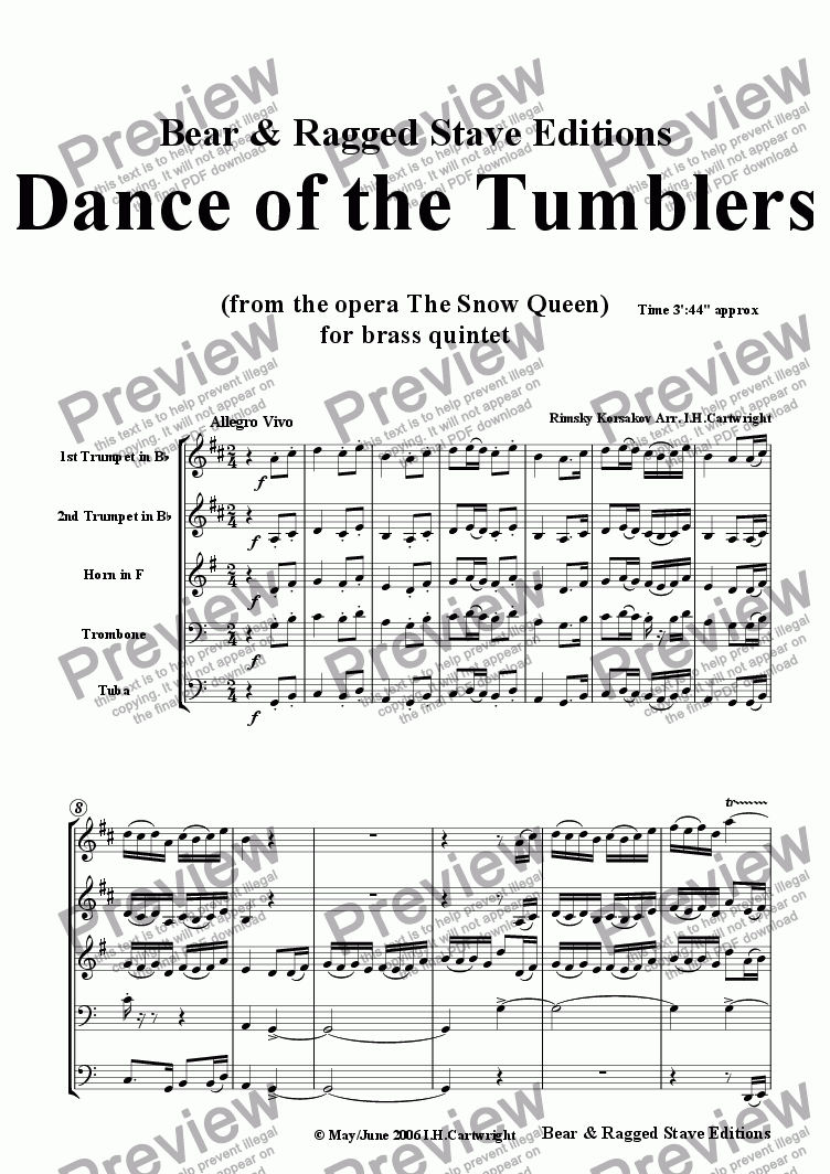 page one of Dance of the Tumblers for brass quintet