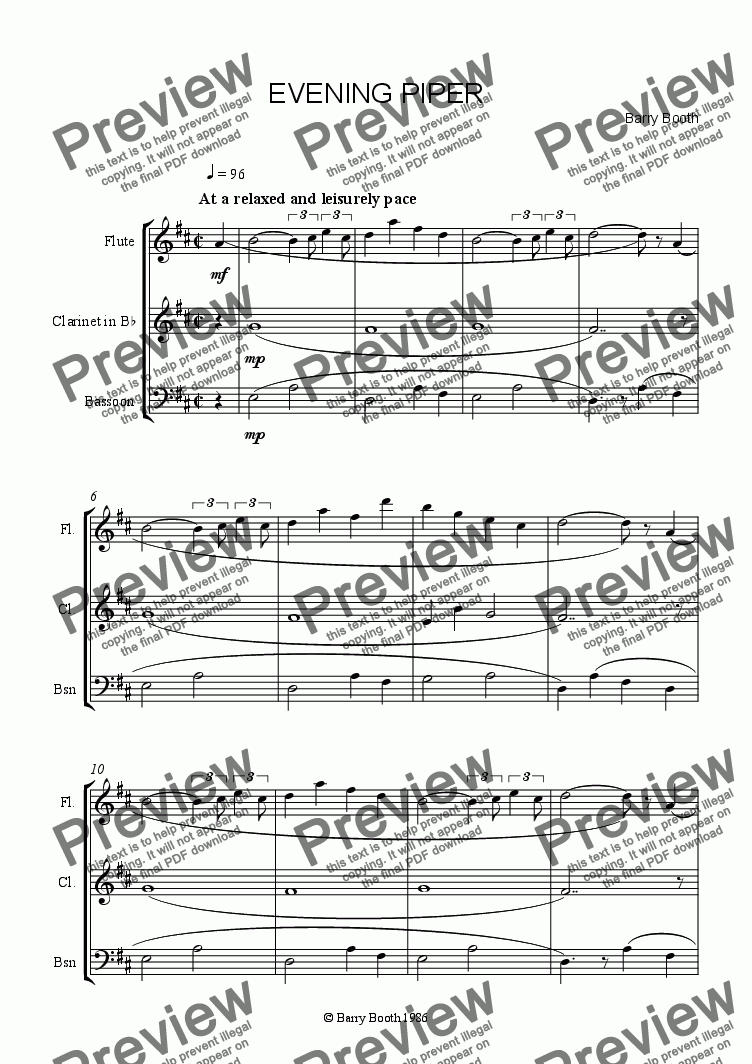page one of Evening Piper ( woodwind)