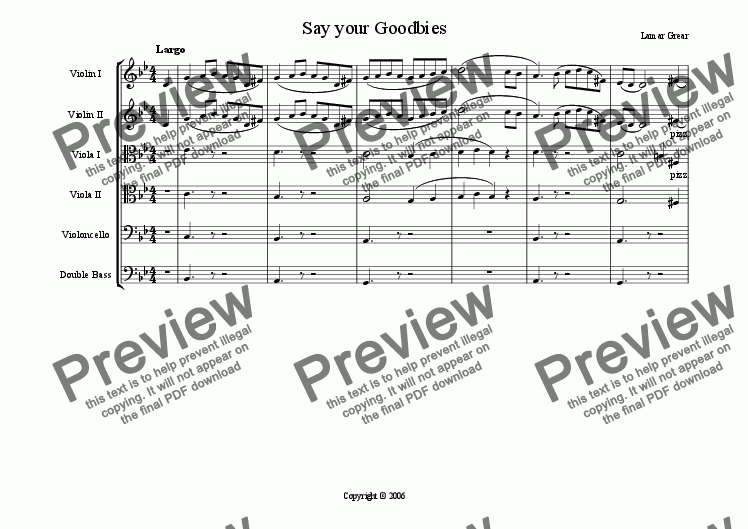 page one of Say your Goodbies Op.3