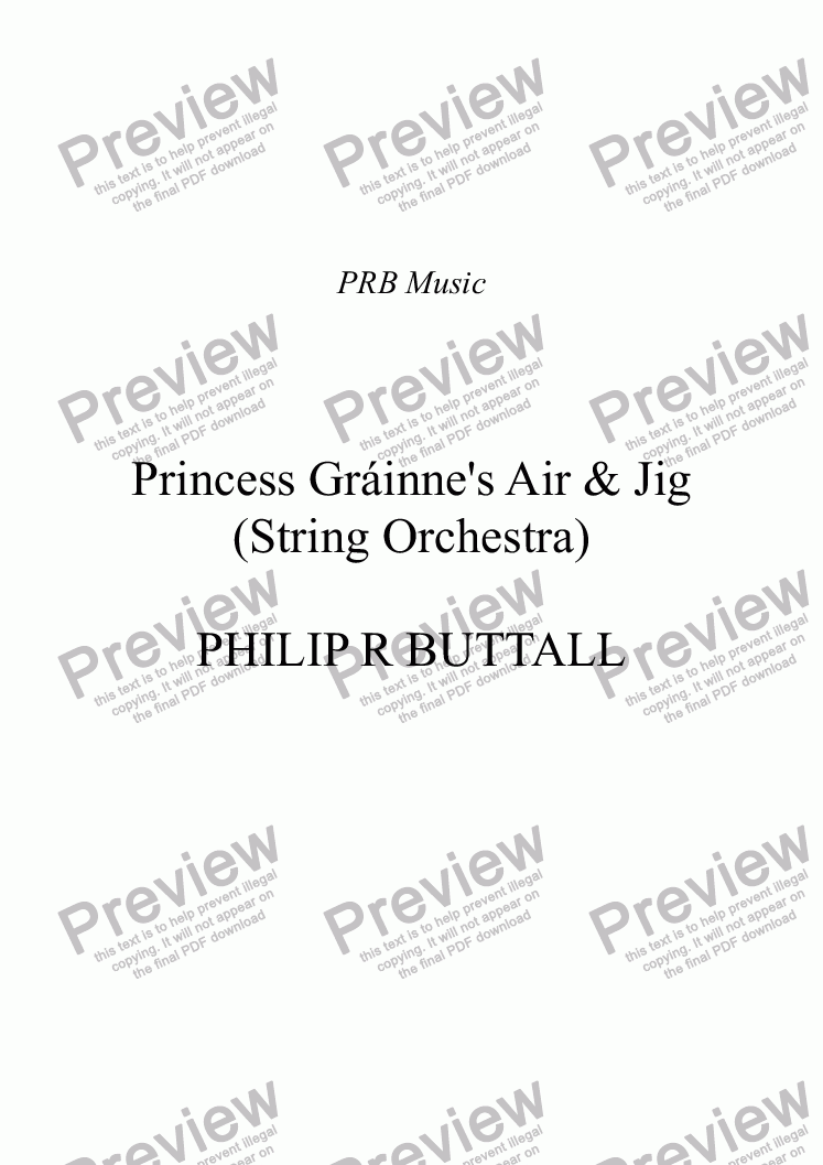 page one of Princess Grainne's Air & Jig (String Orchestra)