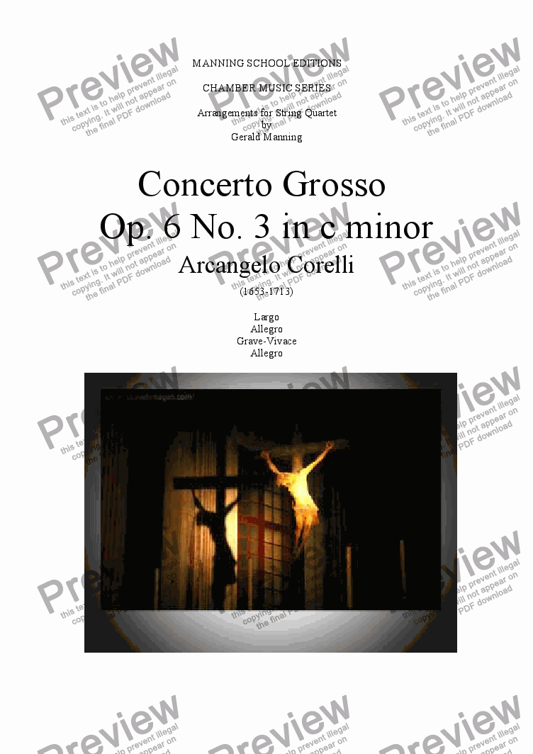 page one of CORELLI, A. - Concerto Grosso No. 3 in C minor - arr. for String Quartet by Gerald Manning
