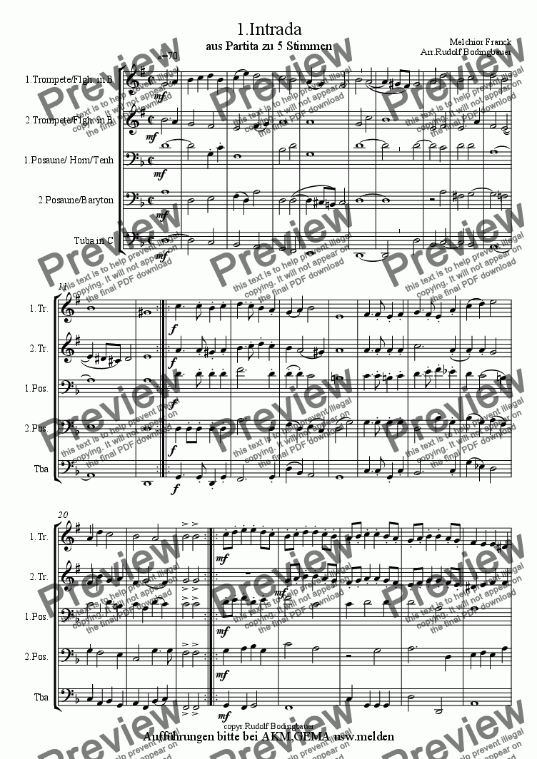 page one of 1.Intrada (Melchior Franck)  Bl�serquintett