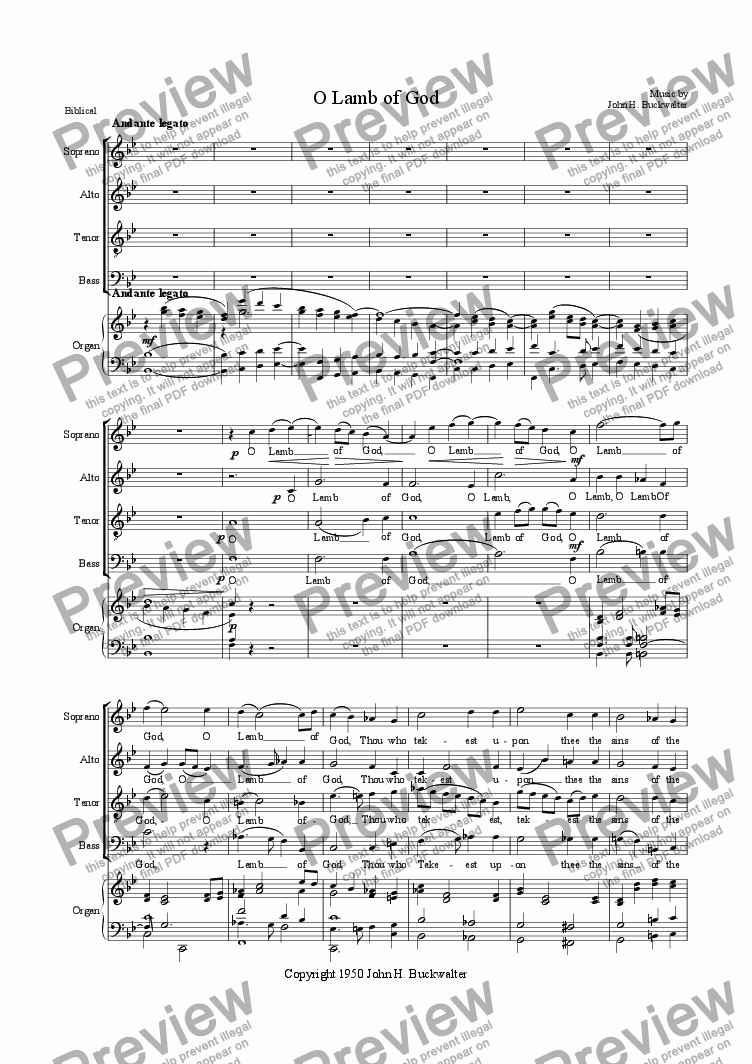 page one of O Lamb of God(Chor./Org