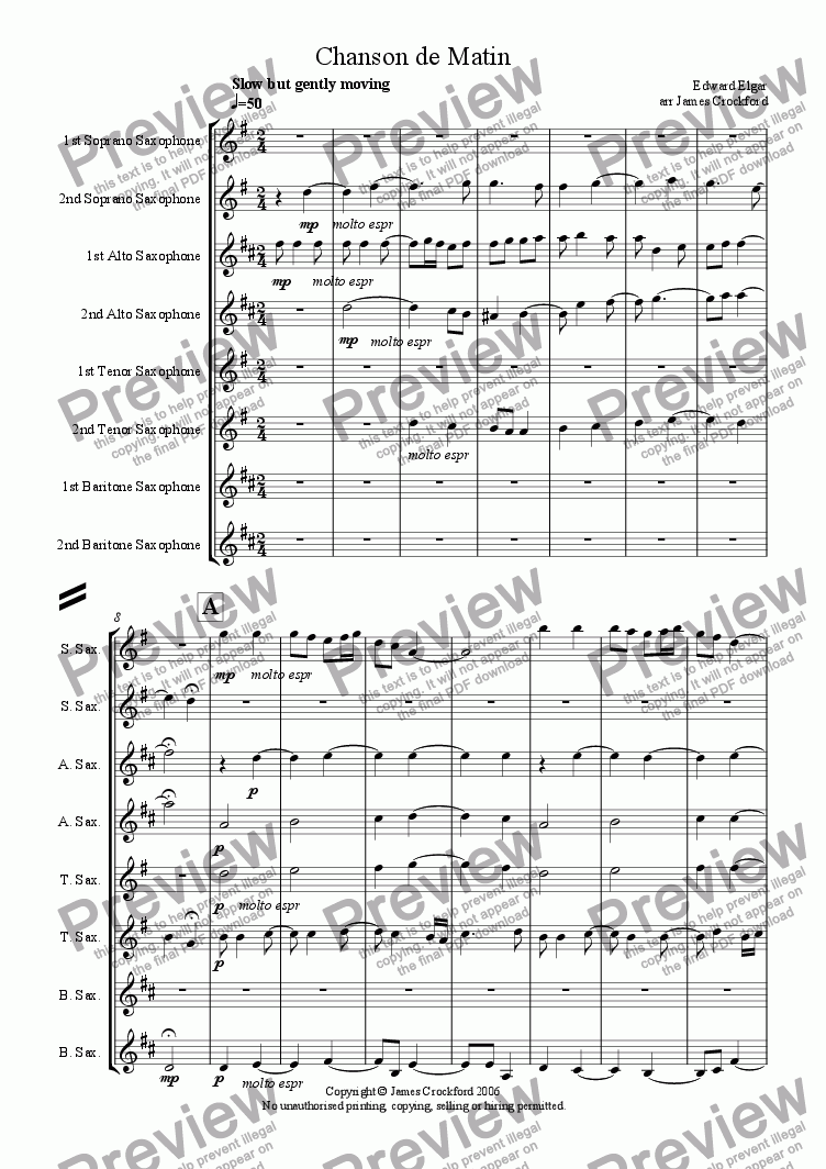 page one of Chanson de Matin for Saxophone Octet/Ensemble