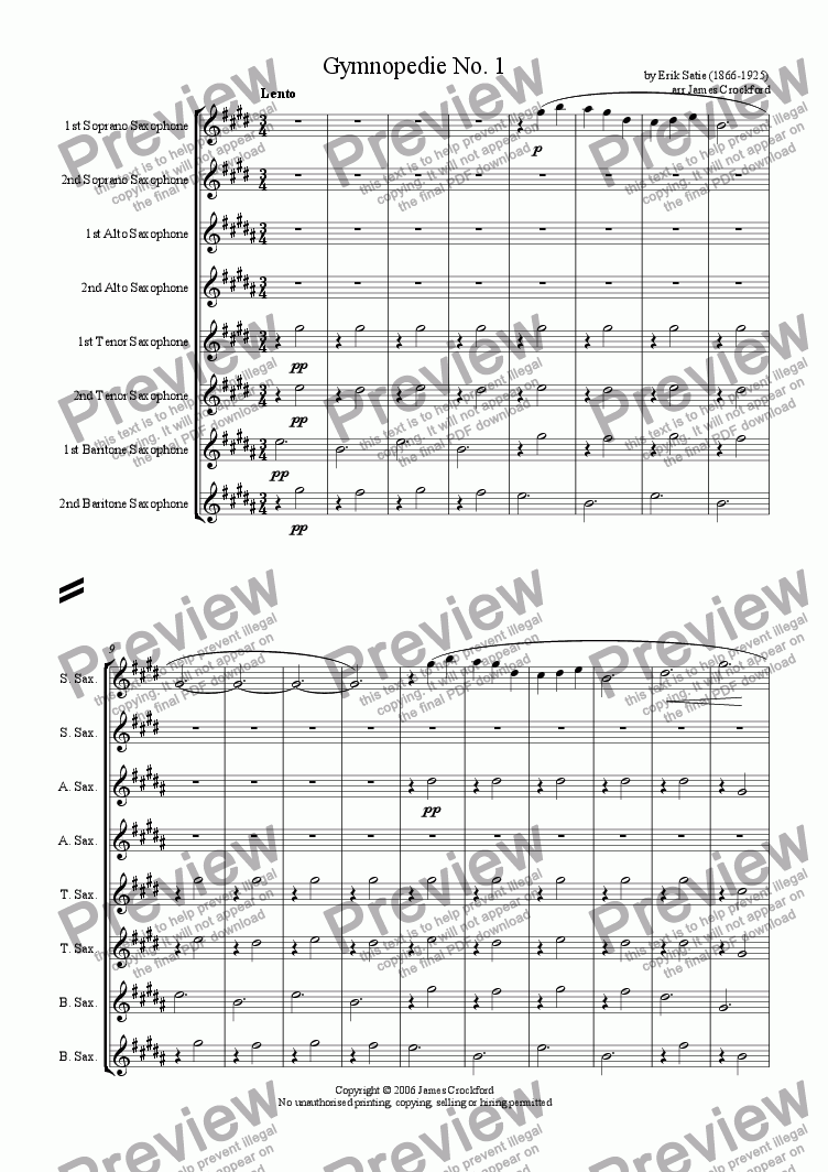page one of Gymnopedie No. 1 for Saxophone Octet/Ensemble
