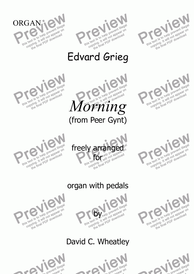 page one of Grieg - Morning (Peer Gynt) for organ solo