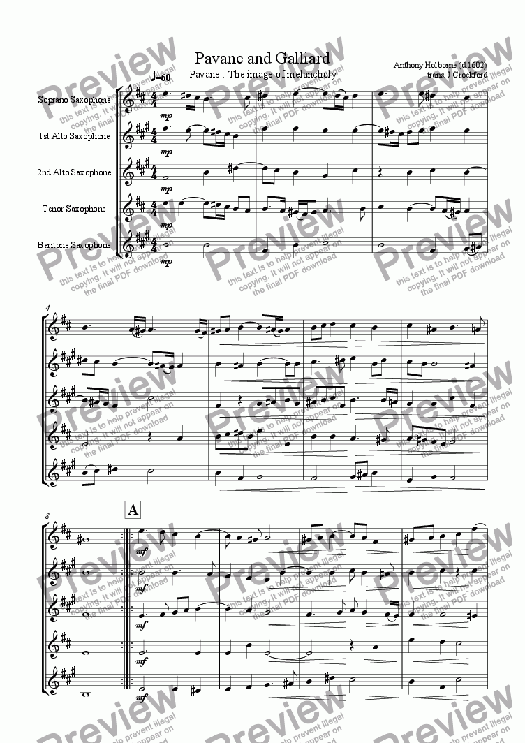 page one of Pavane and Galliard for Saxophone Quintet