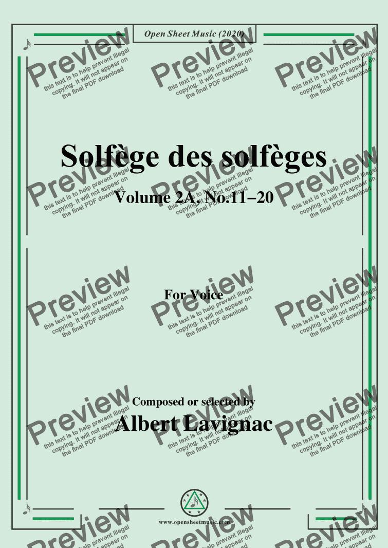 lavignac-solfège des solfèges,volume 2a,no.11-20,for voice - buy pdf  score exchange