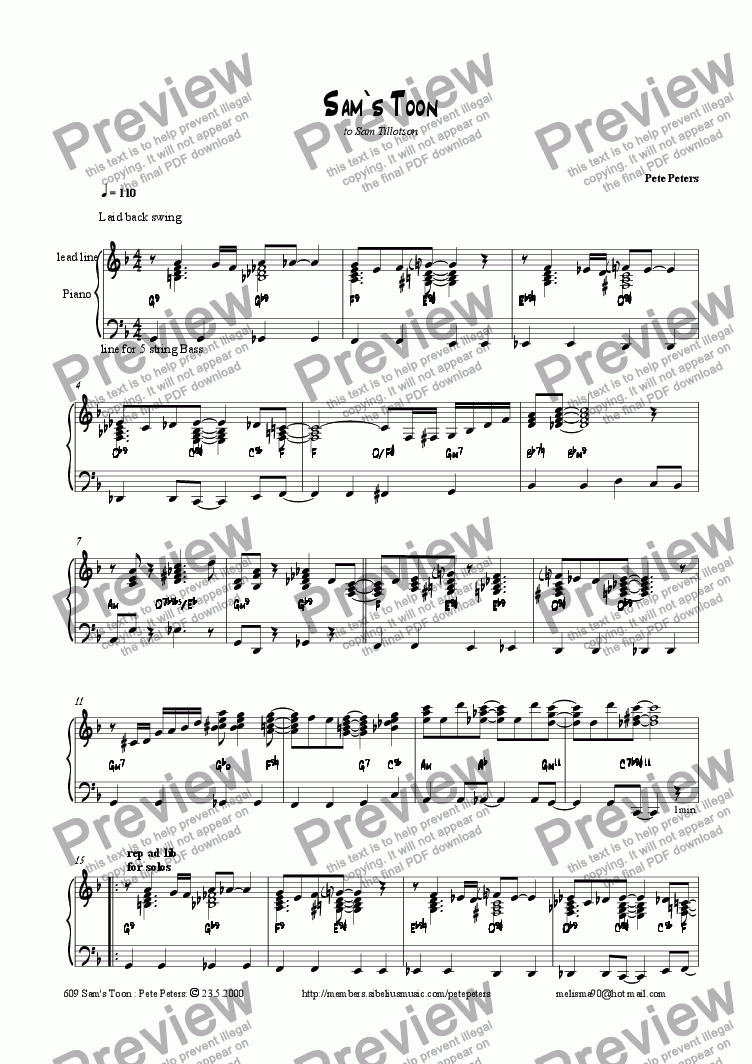page one of Sam's Toon [piano solo]