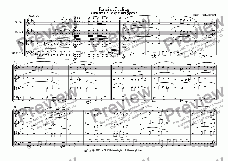 page one of Russian Feeling (stringquartet)ASALTTEXT