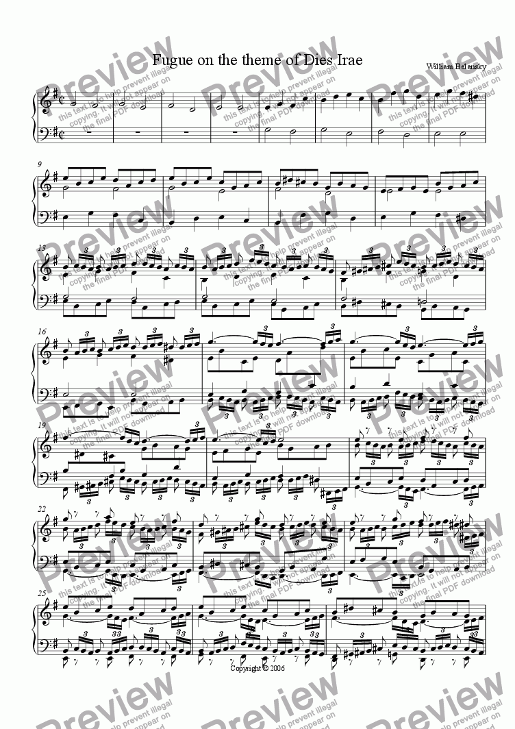 page one of Fugue upon the theme of Dies Irae