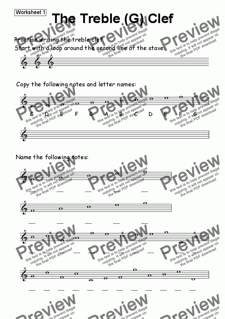 page one of Worksheet 01: The Treble (G) Clef
