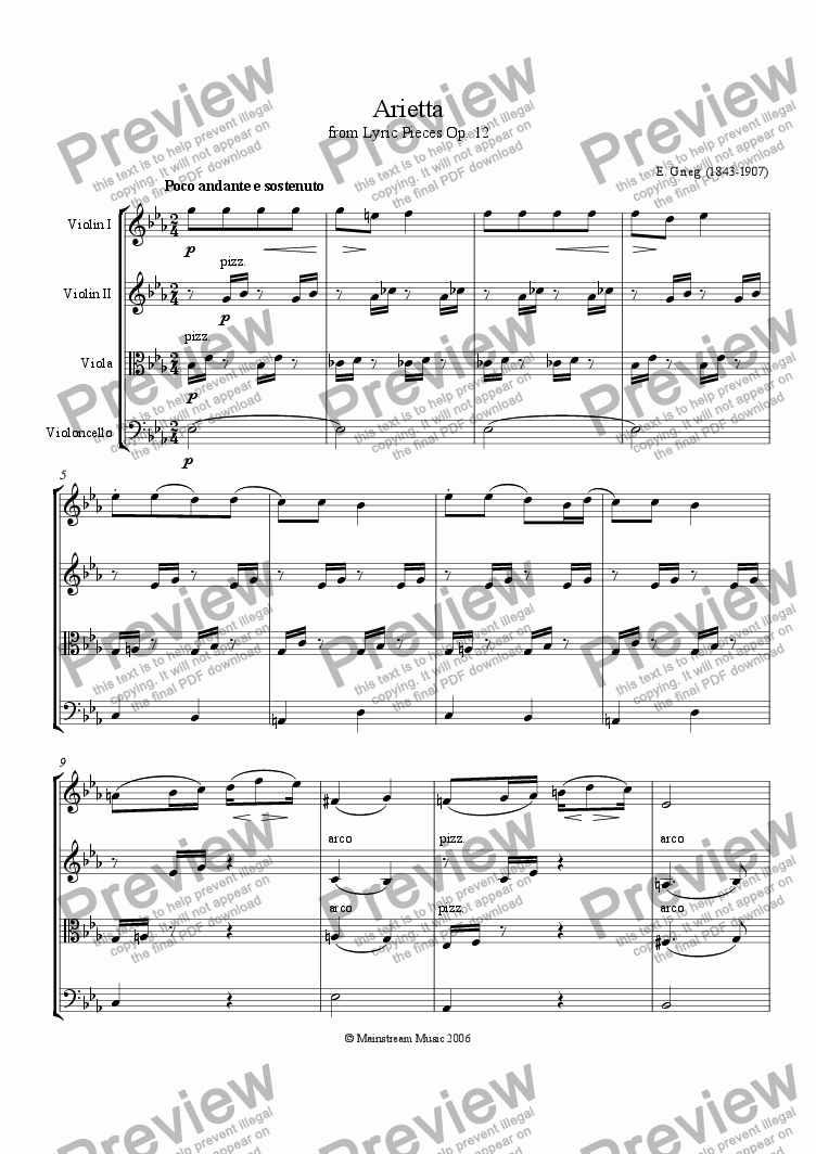 Arietta for String quartet by E  Grieg - Sheet Music PDF file to download