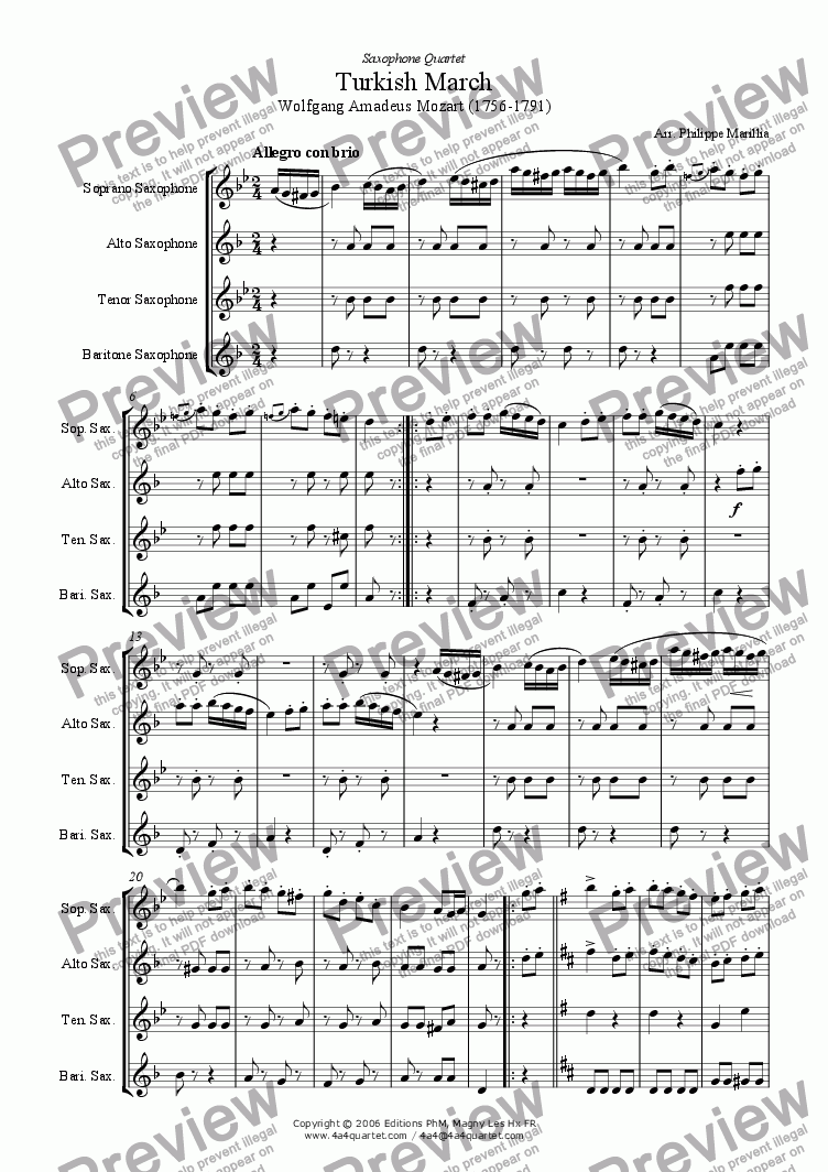 page one of Mozart - Turkish March (Sax Quartet)