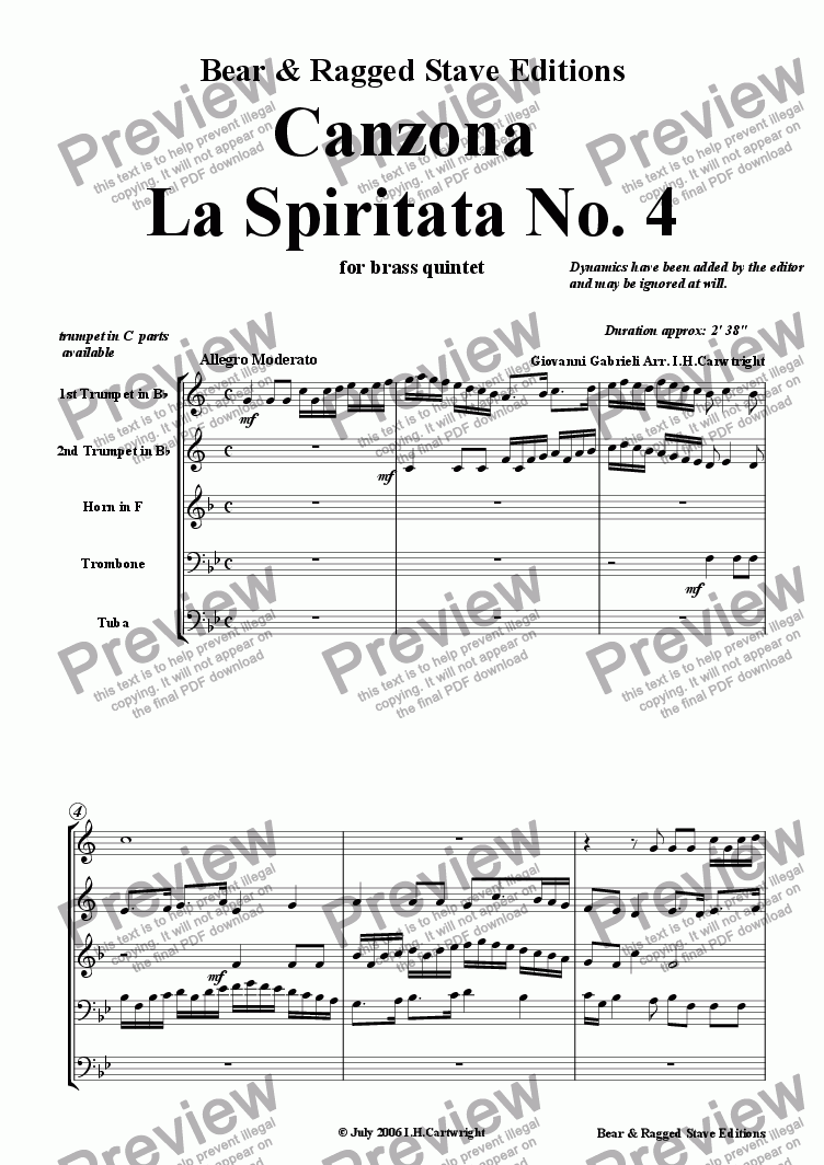 page one of Canzona La Spiritata No. 4 for brass quintet