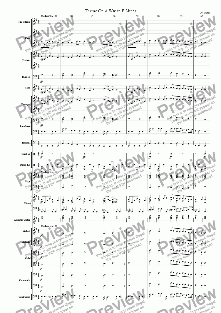 page one of Theme On A War In E Minor