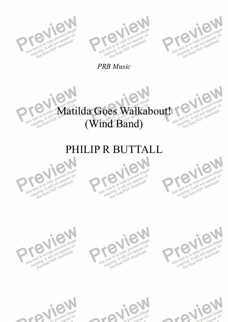 page one of Matilda Goes Walkabout! (Wind Band)