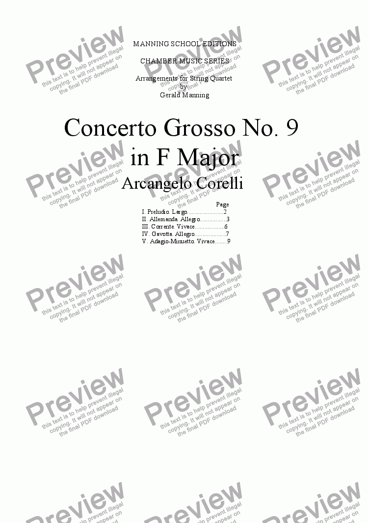 page one of CORELLI, A. - Concerto Grosso No. 9 in F major - arr. for String Quartet by Gerald Manning