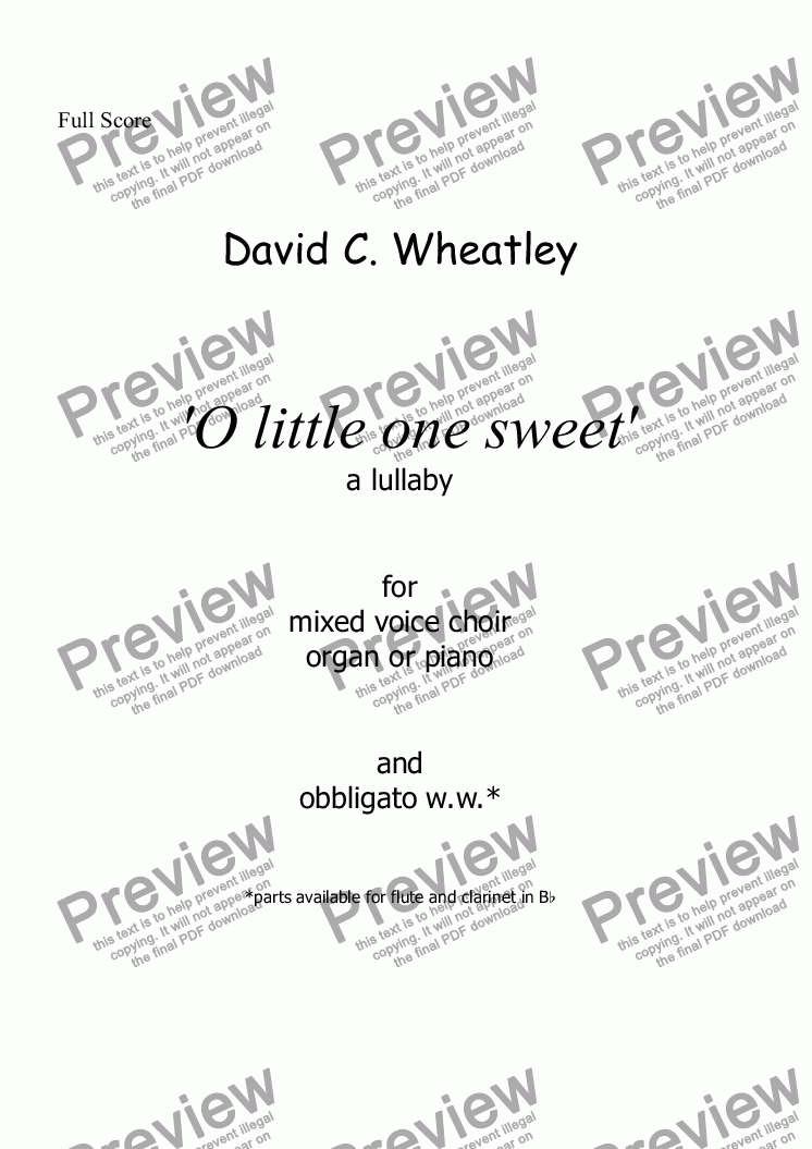 page one of O little one sweet for mixed choir (SAB + organ + obbligato ww) by David Wheatley