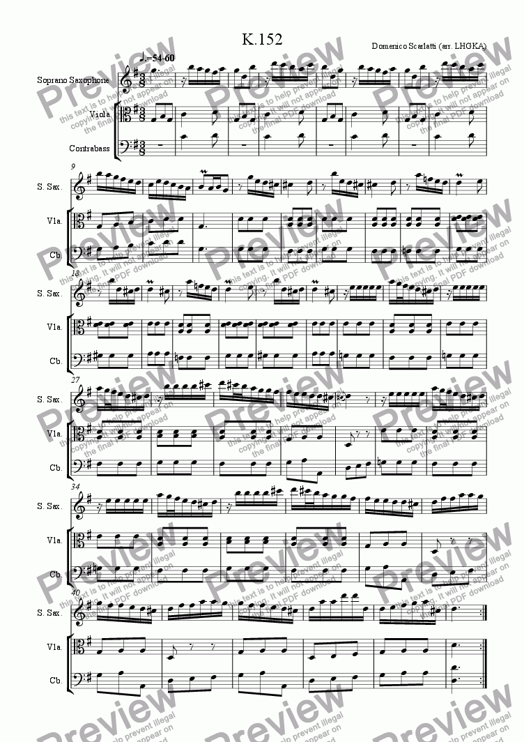 page one of Sonata in G Major, K152