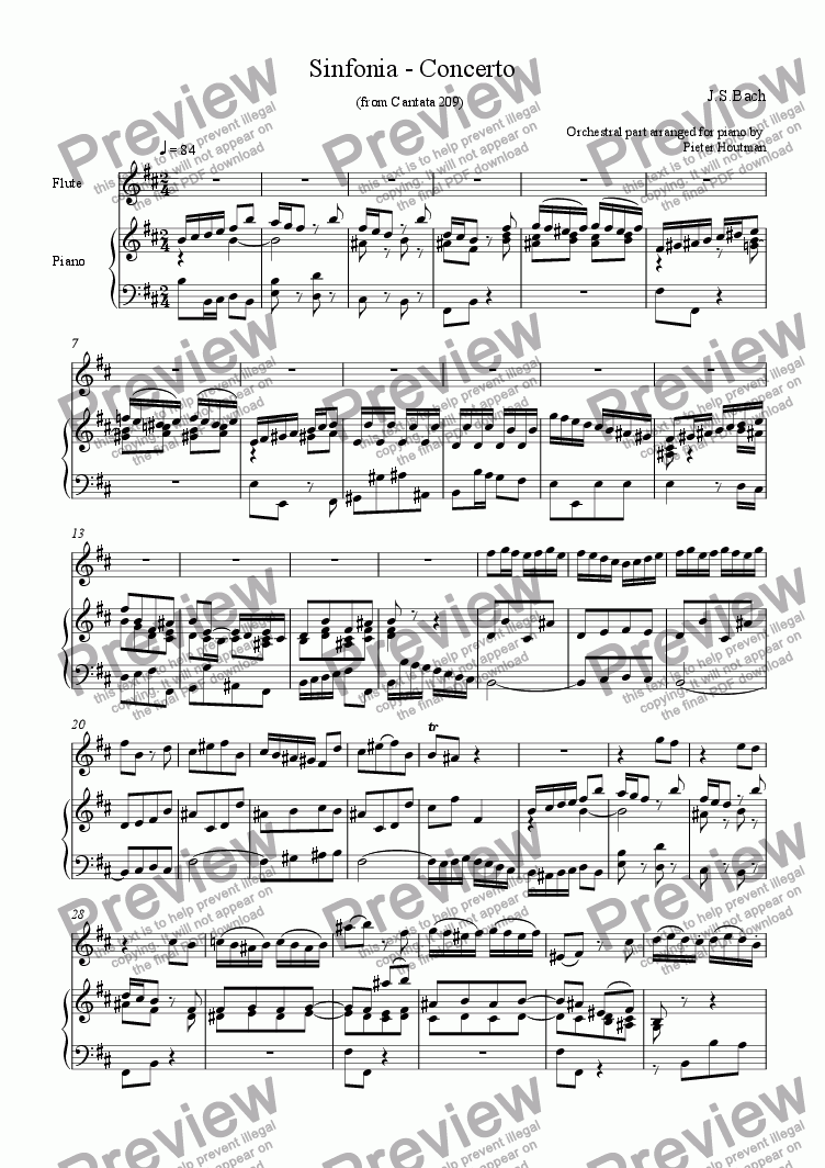 page one of Sinfonia-Concerto for flute and piano in b minor