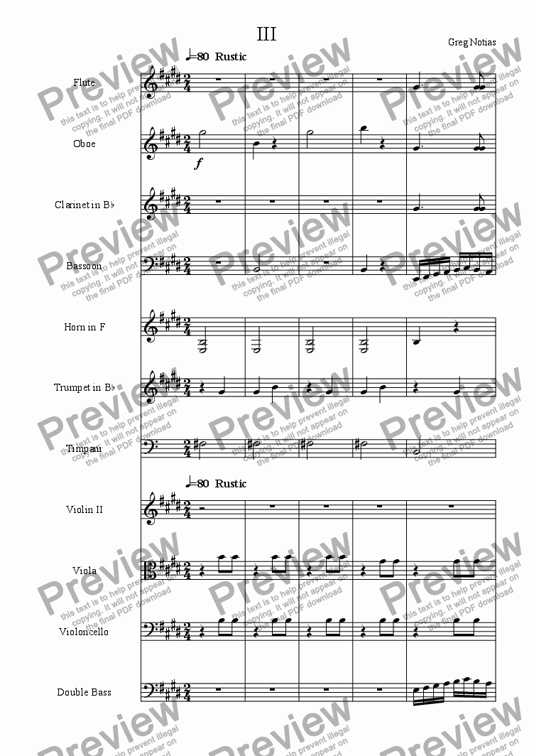 page one of Symphony in C III