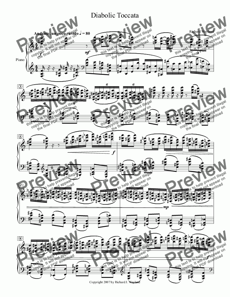 page one of Diabolic Toccata