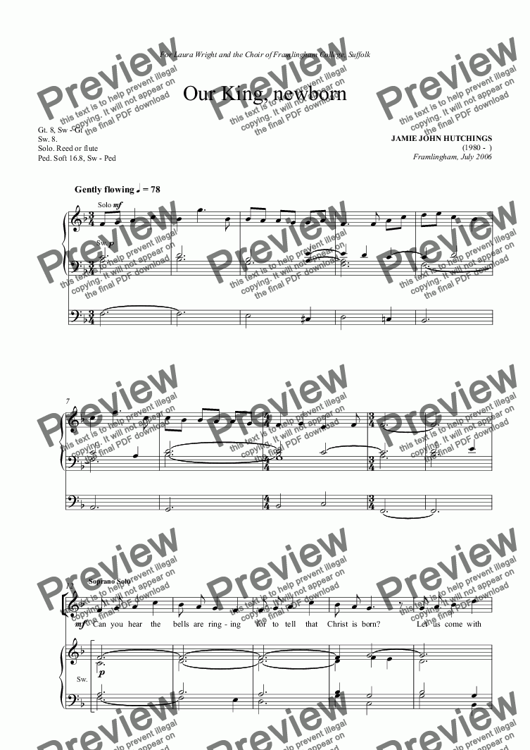 page one of Op.38 - Our King, Newborn [Soprano Solo, SATB & Org]