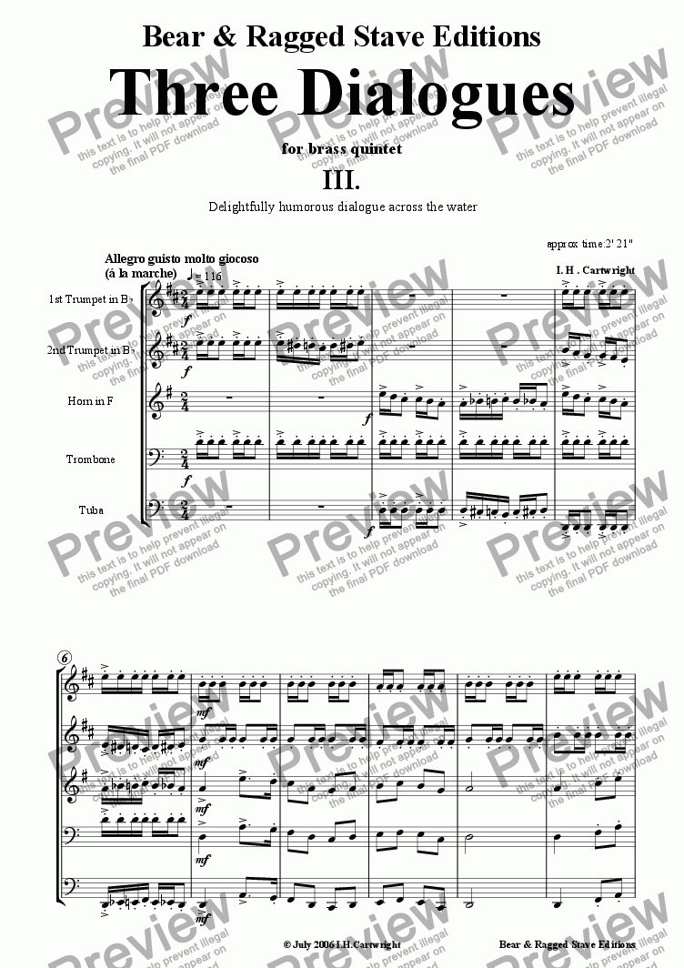 page one of Three dialogues for brass quintet 3rd MovementASALTTEXT
