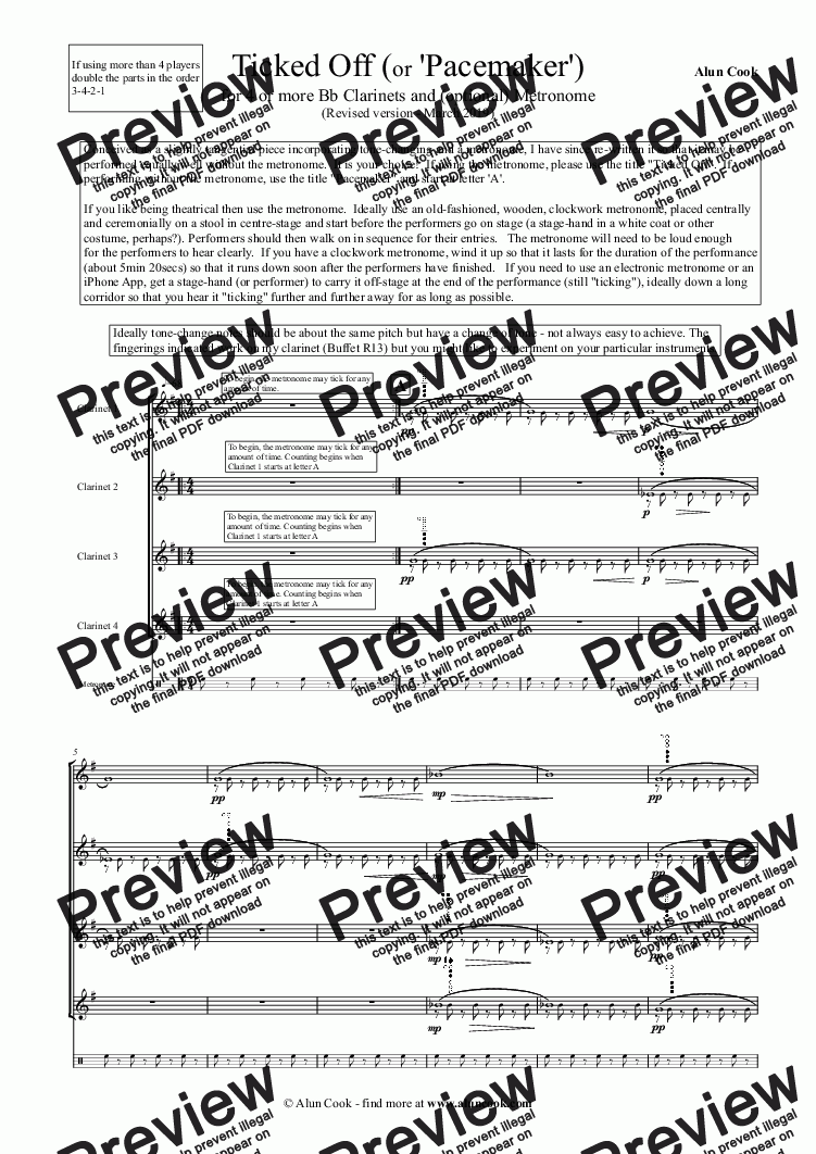 page one of Ticked Off (for 4 or more Bb Clarinets and metronomes)