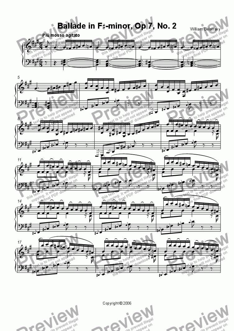 page one of Ballade in F#  minor, Opus 7, No. 2