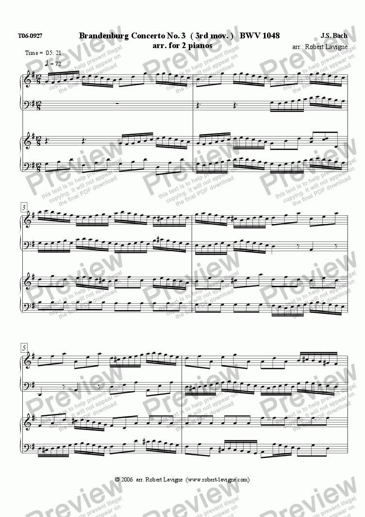 page one of BWV1048 Brandenburg Cto No.3 (for 2 pianos)