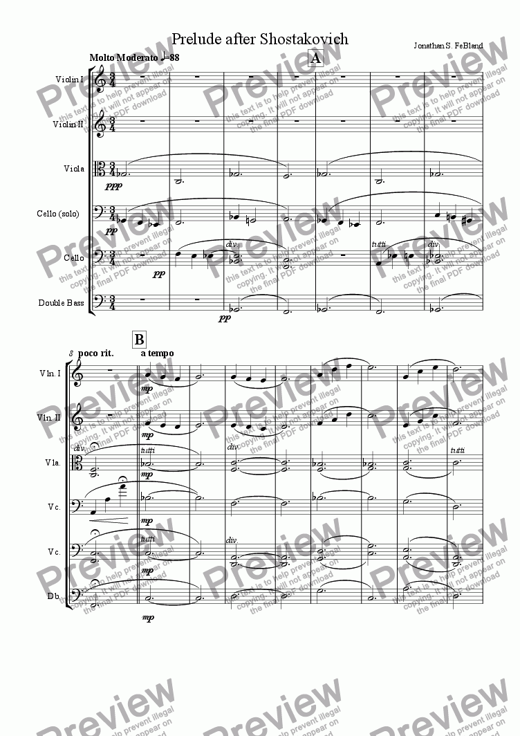 page one of Prelude after Shostakovich