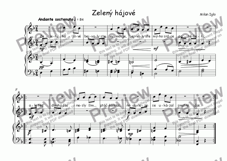 page one of Zelen� h�jov�